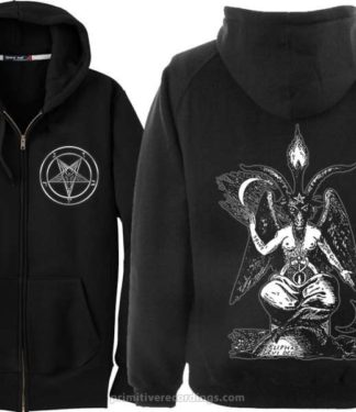 Baphomet Zipper Hoodie With Pocket Pentagram Print