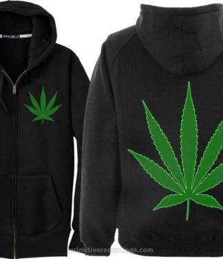 Pot Leaf Zipper Hoodie With Weed Leaf Chest Print