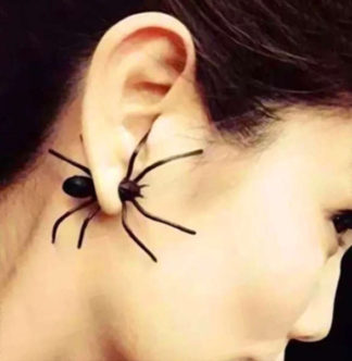 Creepy Black Spider Earring