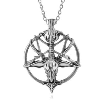 Inverted Pentagram Goat Skull Head Necklace