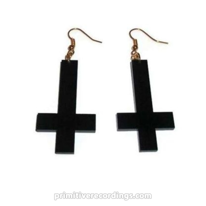 Black Inverted Cross Earrings