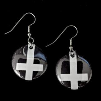 Inverted Cross 1 Inch Earrings