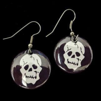 Mortician Skull 1 Inch Earrings